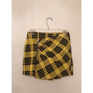 Zara yellow plaid zip Cher Clueless mini skirt 24